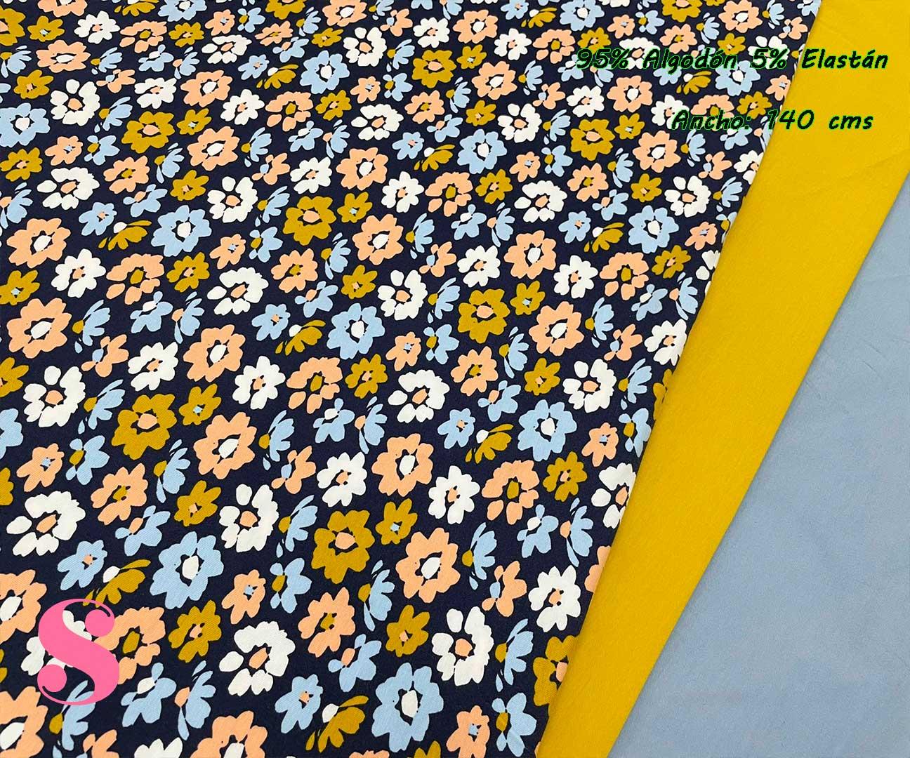3-telas-de-punto,telas-estampadas-infantiles,tejidos-estampados-para-sudaderas,telas-para-confeccionar-ropa-infantil,Punto Camiseta Jersey Estampado Margaritas Fondo Marino