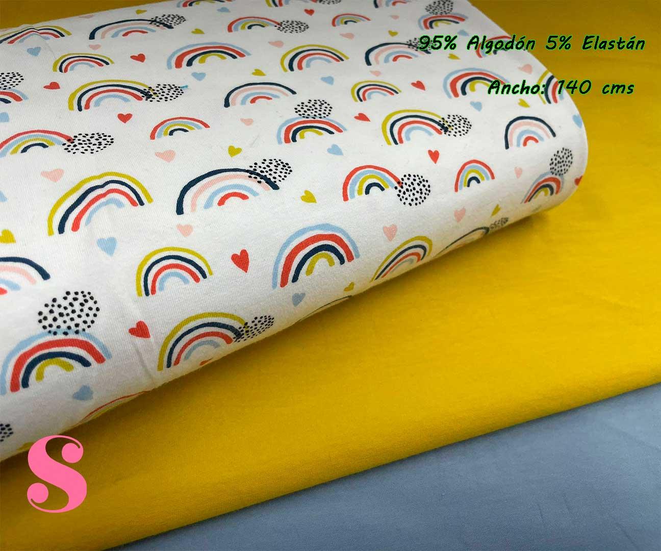 30-telas-de-punto,telas-estampadas-infantiles,tejidos-estampados-para-sudaderas,telas-para-confeccionar-ropa-infantil,Punto Camiseta Jersey Estampado Arcoíris