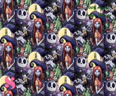 3-telas-frikis,estampados-frikis,tela-de-algodón-estampada-de-moda,estampados-originales,telas-estampadas-infantiles,Tejido Estampado Pesadilla antes de Navidad Halloween