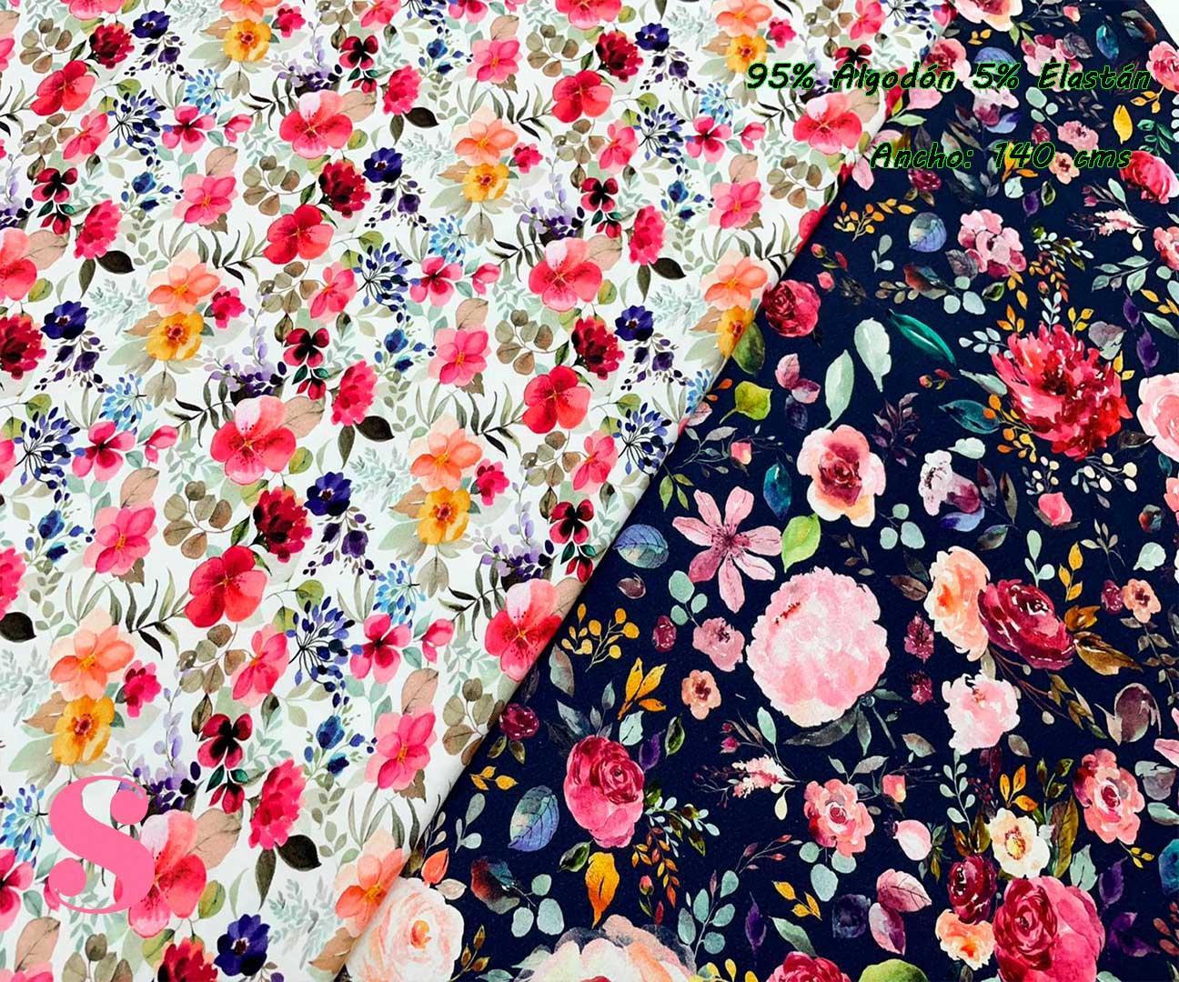 34-telas-de-punto,telas-estampadas-infantiles,tejidos-estampados-para-sudaderas,telas-para-confeccionar-ropa-infantil,Punto Camiseta Jersey Estampado Flores fondo Marino,Punto Camiseta Jersey Estampado Flores fondo Blanco