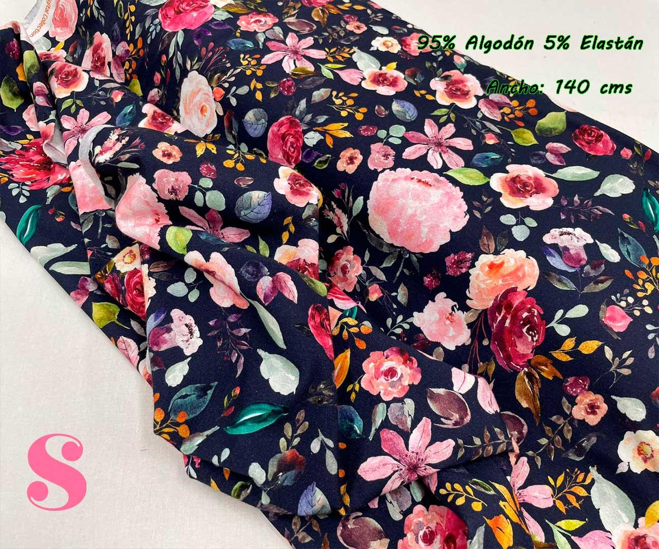 34-telas-de-punto,telas-estampadas-infantiles,tejidos-estampados-para-sudaderas,telas-para-confeccionar-ropa-infantil,Punto Camiseta Jersey Estampado Flores fondo Marino