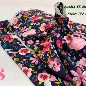 0013 Punto Camiseta Jersey Estampado Flores fondo Marino