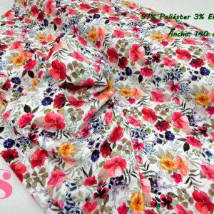 0014 Punto Camiseta Jersey Estampado Flores fondo Blanco
