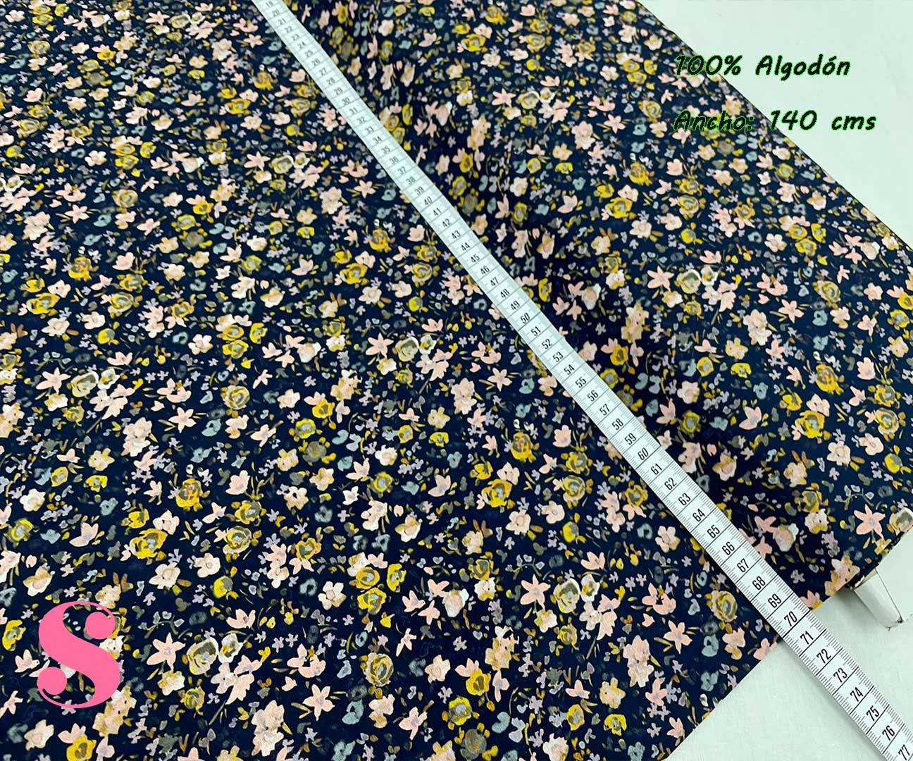 6-popelin-estampado-flores,telas-flores,telas-de-algodón-estampadas,telas-infantiles,Popelín Estampado Florecitas Otoño fondo Marino