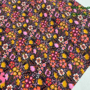 0020 Popelín Estampado Fall Flowers fondo Negro