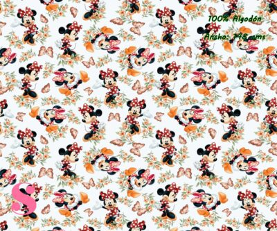 8-telas-frikis,estampados-frikis,tela-de-algodón-estampada-de-moda,estampados-originales,telas-estampadas-infantiles,Tejido Estampado Minnie Otoño