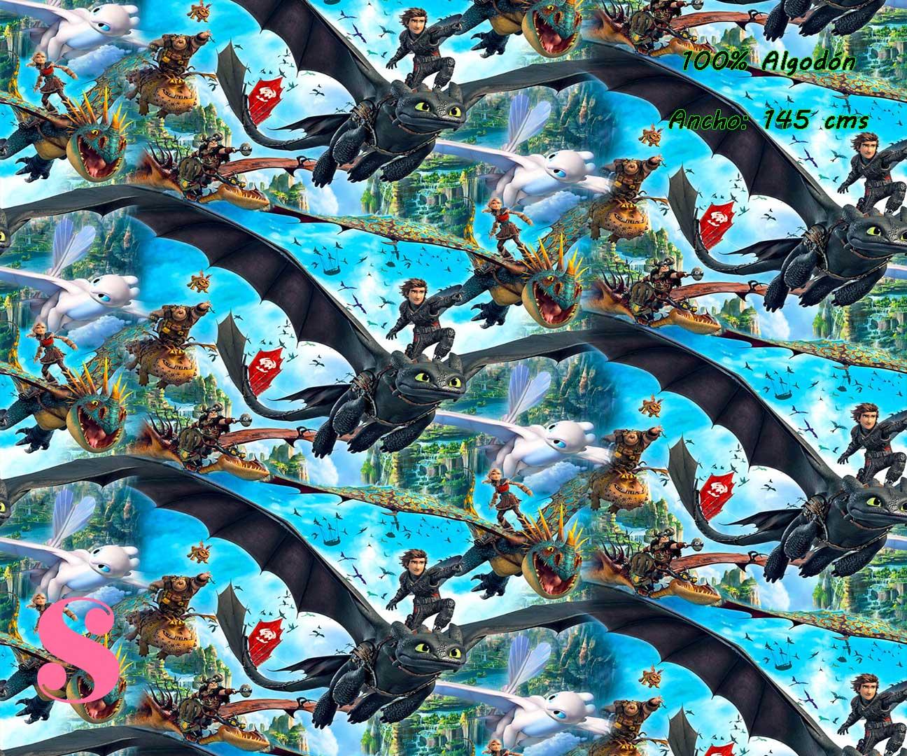 10-telas-infantiles,estampados-infantiles,telas-disney,telas-con-licencia,telas-estampadas-frikis,telas-por-metros,Tejido Estampado Como entrenar a tu Dragón