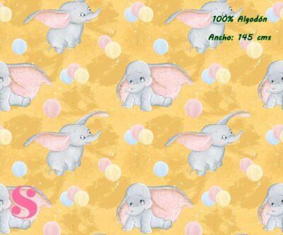 11-telas-infantiles,estampados-infantiles,telas-disney,telas-con-licencia,telas-estampadas-frikis,telas-por-metrosTejido Estampado Baby Dumbo
