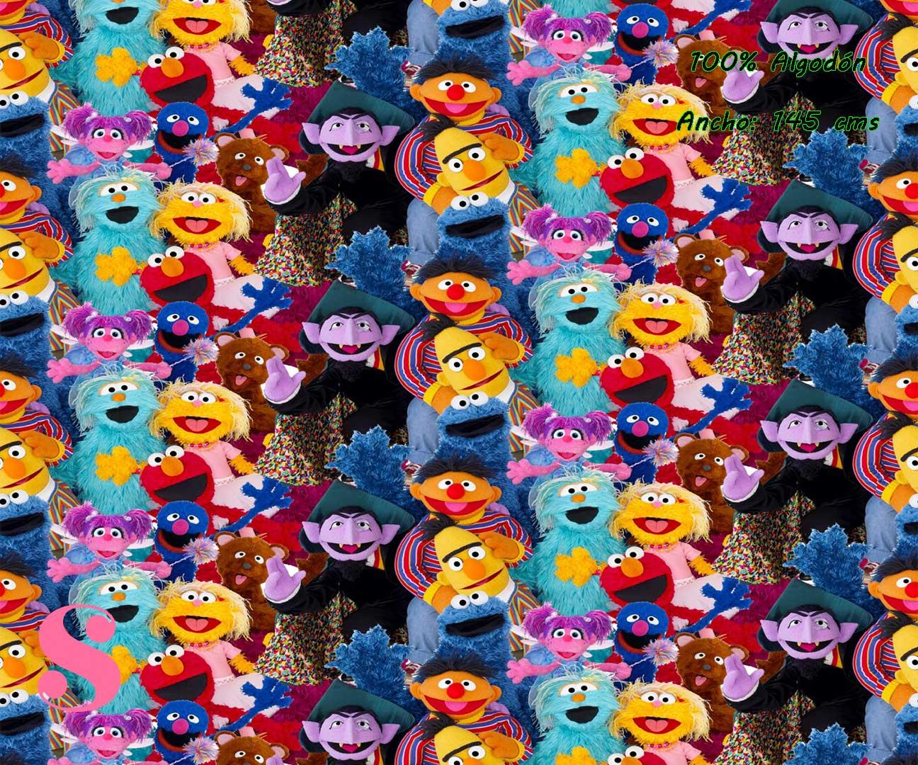 12-telas-infantiles,estampados-infantiles,telas-disney,telas-con-licencia,telas-estampadas-frikis,telas-por-metros,Tejido Estampado Barrio Sésamo