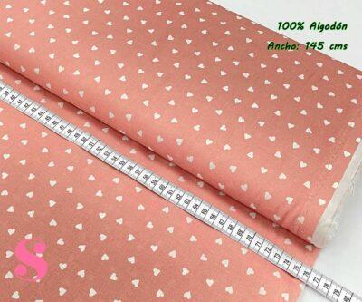 16-telas-de-algodón-100%,telas-infantiles,estampados-infantiles,telas-para-bebes,Tejido Estampado Corazones fondo Rosa
