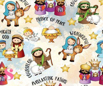 15-telas-infantiles,estampados-infantiles,telas-disney,telas-con-licencia,telas-estampadas-frikis,telas-por-metros,Tejido Estampado Dulce Navidad