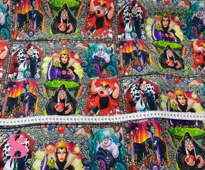 16-telas-infantiles,estampados-infantiles,telas-disney,telas-con-licencia,telas-estampadas-frikis,telas-por-metros,Tejido Estampado Villanas Disney