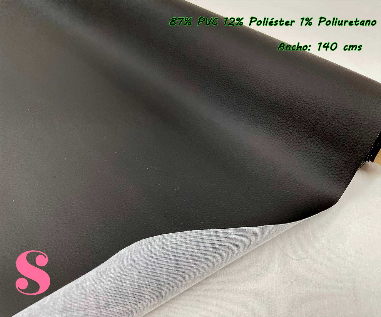 3-telas-de-invierno,tejidos-impermeables,-telas-de-moda,-polipiel-de-buena-calidad,Polipiel Negro