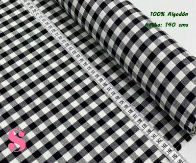 26-telas-de-algodón-100%,telas-infantiles,estampados-infantiles,telas-para-bebes,Vichy Algodón Cuadros Negro 1 Centímetro