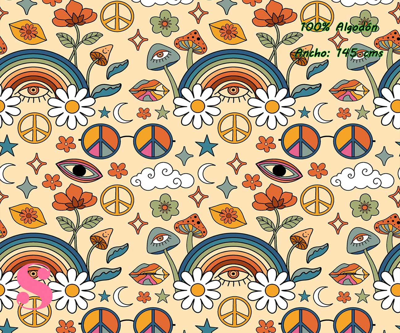 4-telas-infantiles,estampados-infantiles,telas-disney,telas-con-licencia,telas-estampadas-frikis,telas-por-metros,Tejido Estampado Boho Hippie