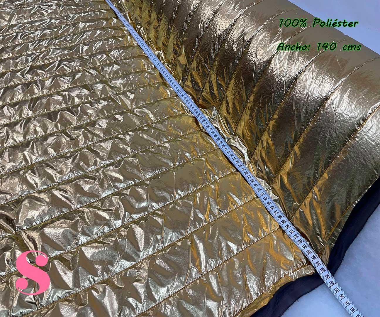 4-telas-acolchadas,-telas-impermeables,telas-para-chaquetas,telas-para-brigos,telas-para-chuvasqueros,Acolchado Metalizado Dorado